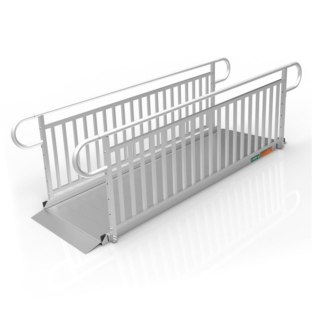 GATEWAY3GVPHR09 9 L x 3 W EZ-ACCESS GATEWAY 3G Aluminum Wheelchair Access Ramp with Vertical Picket Handrails