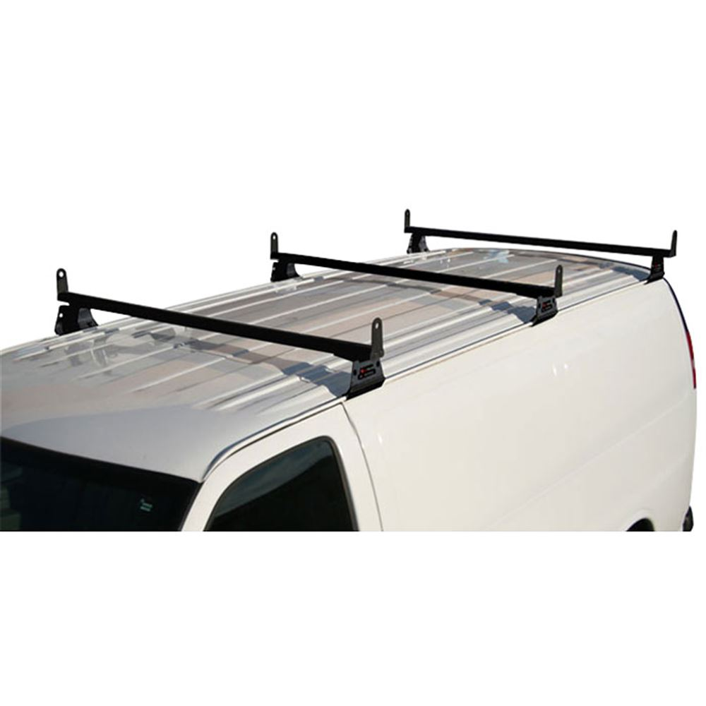 H3-FORD-ECONOLINE-A-SIDE Vantech Steel Van Rack for Ford Econoline 1975-2013 with Side Supports