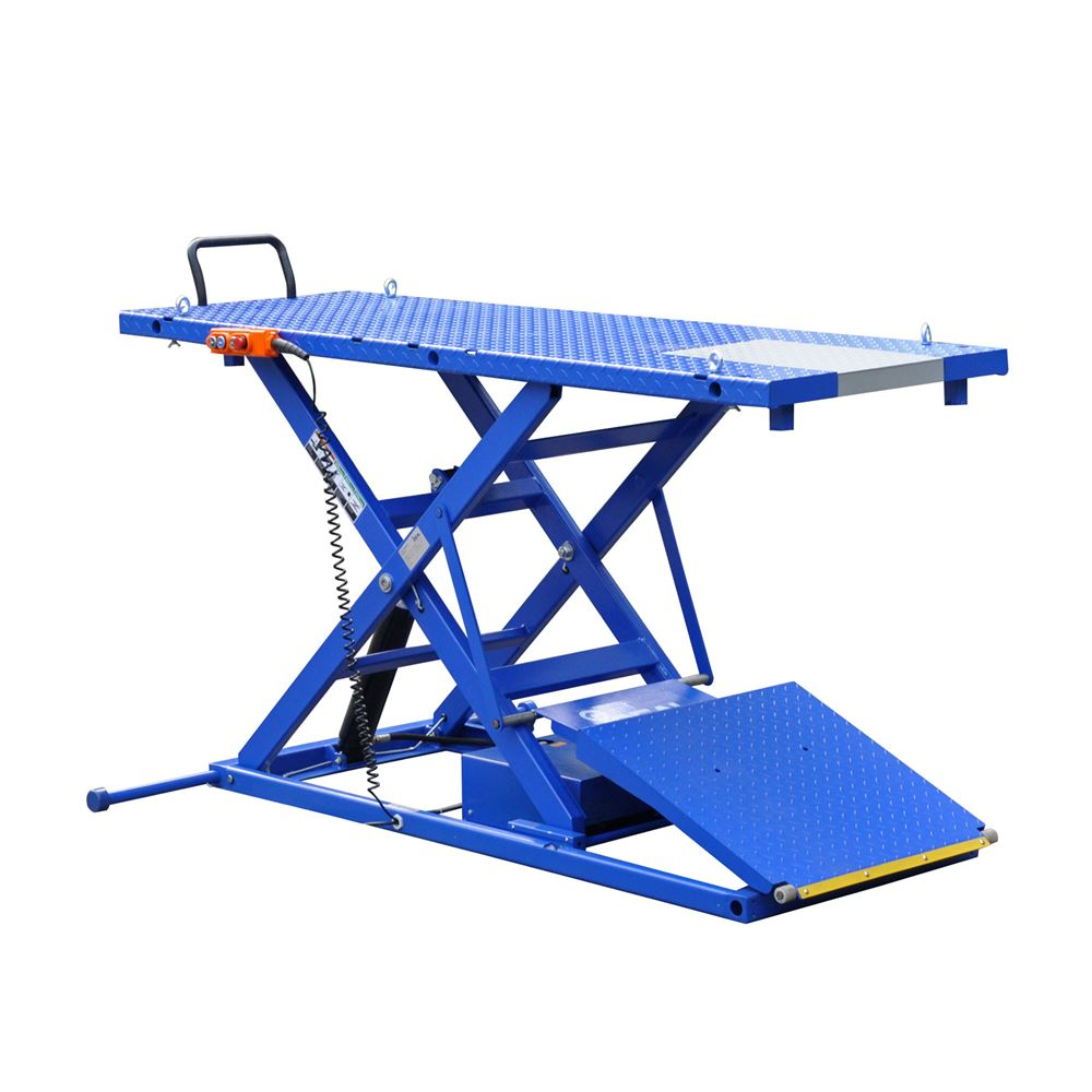 M-2200IEH-XR Motorcycle Lift Table with Retractable Ramp - iDeal Pro-Series