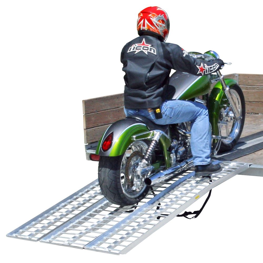 M-9540 8 Long Black Widow Aluminum Non-Folding Arched 3-Piece Motorcycle Ramp