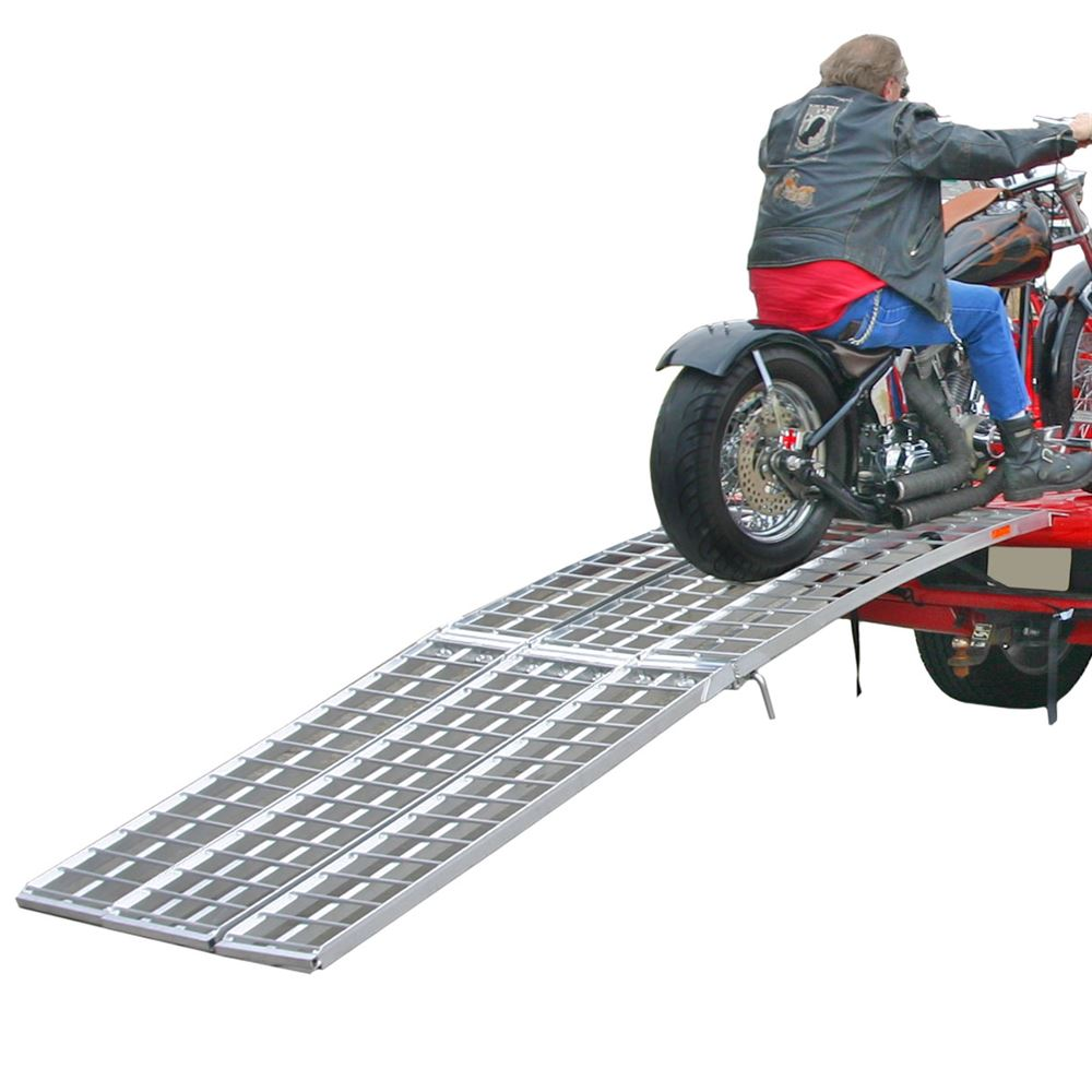 MF-12038 Black Widow Aluminum Heavy-Duty Folding Arched 3-Piece Motorcycle Ramp