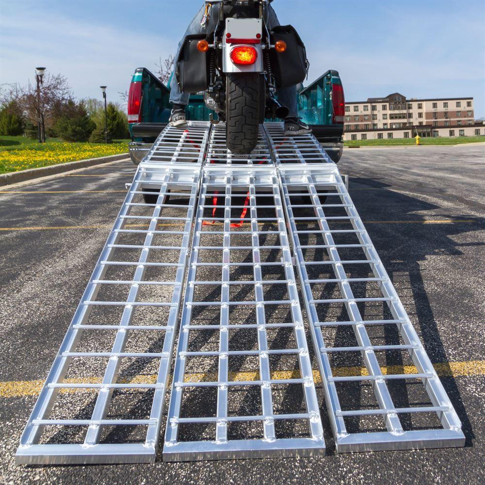 MF-12038 Black Widow Aluminum Heavy-Duty Folding Arched 3-Piece Motorcycle Ramp 5