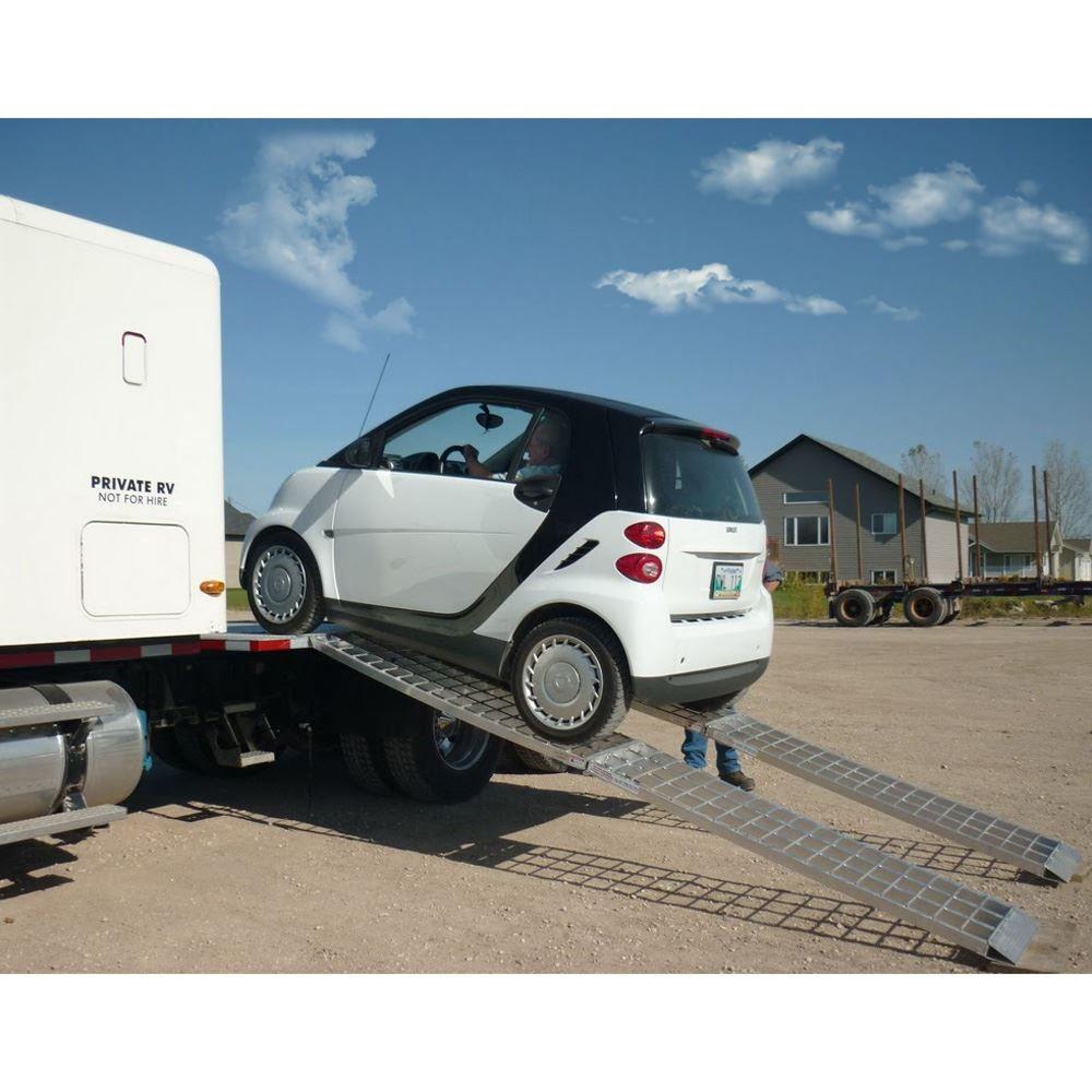 MF2-14438-SC Big Boy II Aluminum Hybrid End Folding Smart Car Trailer Ramps - 2000 lb Capacity 1