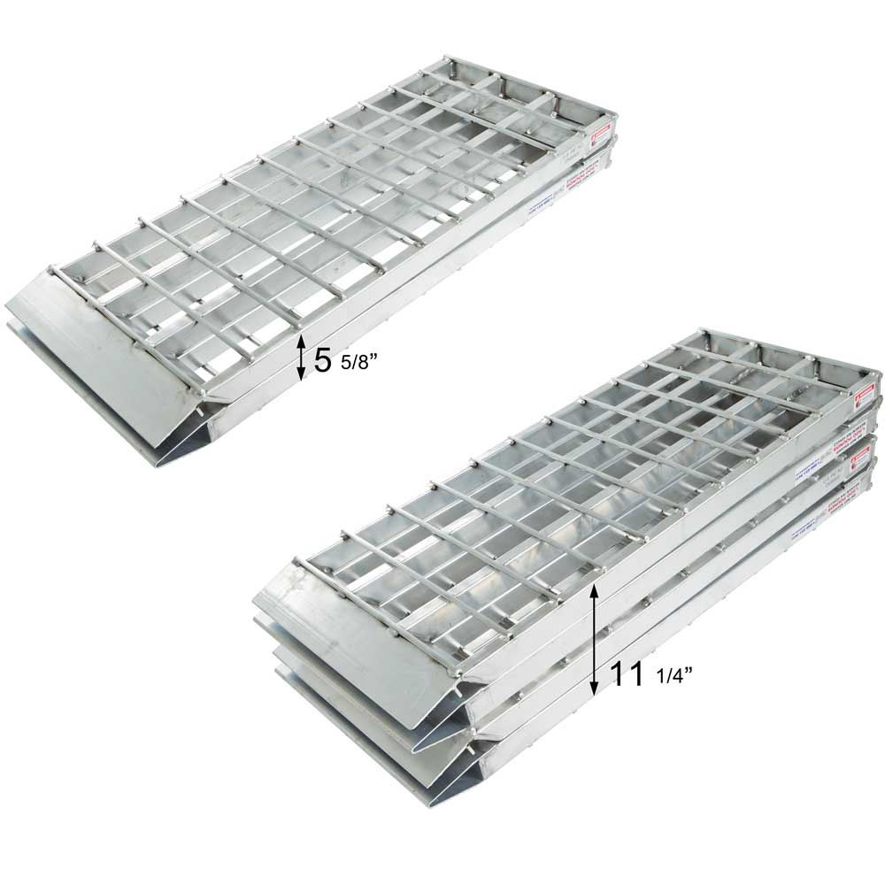 MF2-14438-SC Big Boy II Aluminum Hybrid End Folding Smart Car Trailer Ramps - 2000 lb Capacity 4