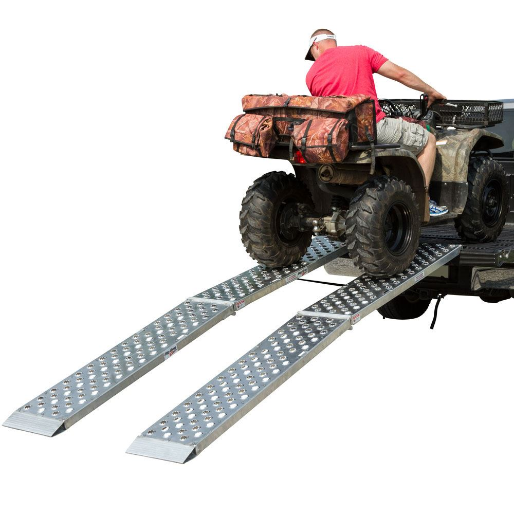 MF2-9614-EZ 8 L x 14 W Big Boy EZ Rizer Aluminum Arched Dual Runner Folding ATV Ramps by Black Widow