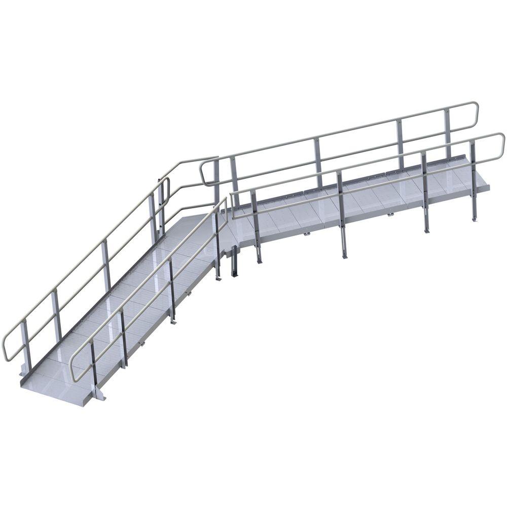 Mod-XP-Platform-45-DegreeAngle-HR 45 Angle PVI Modular XP Aluminum Wheelchair Ramp Platform with Handrails