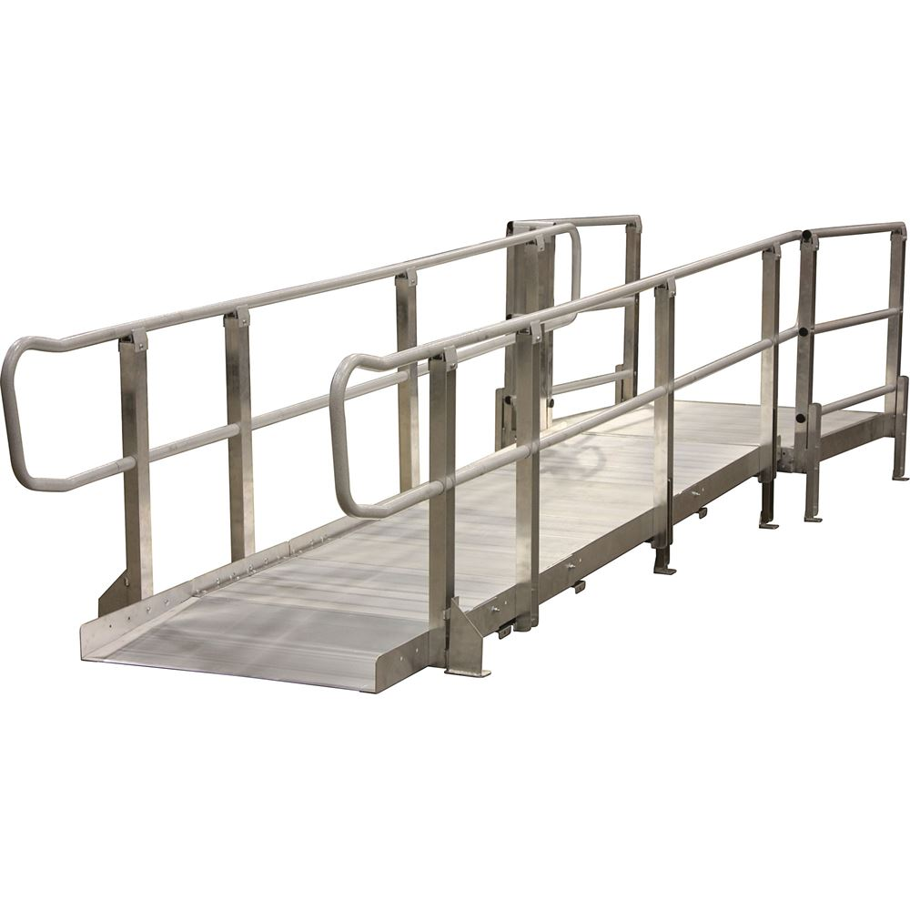 Mod-XP-Ramp-4-HR 4 L PVI Modular XP Aluminum Wheelchair Ramp Section with Handrails