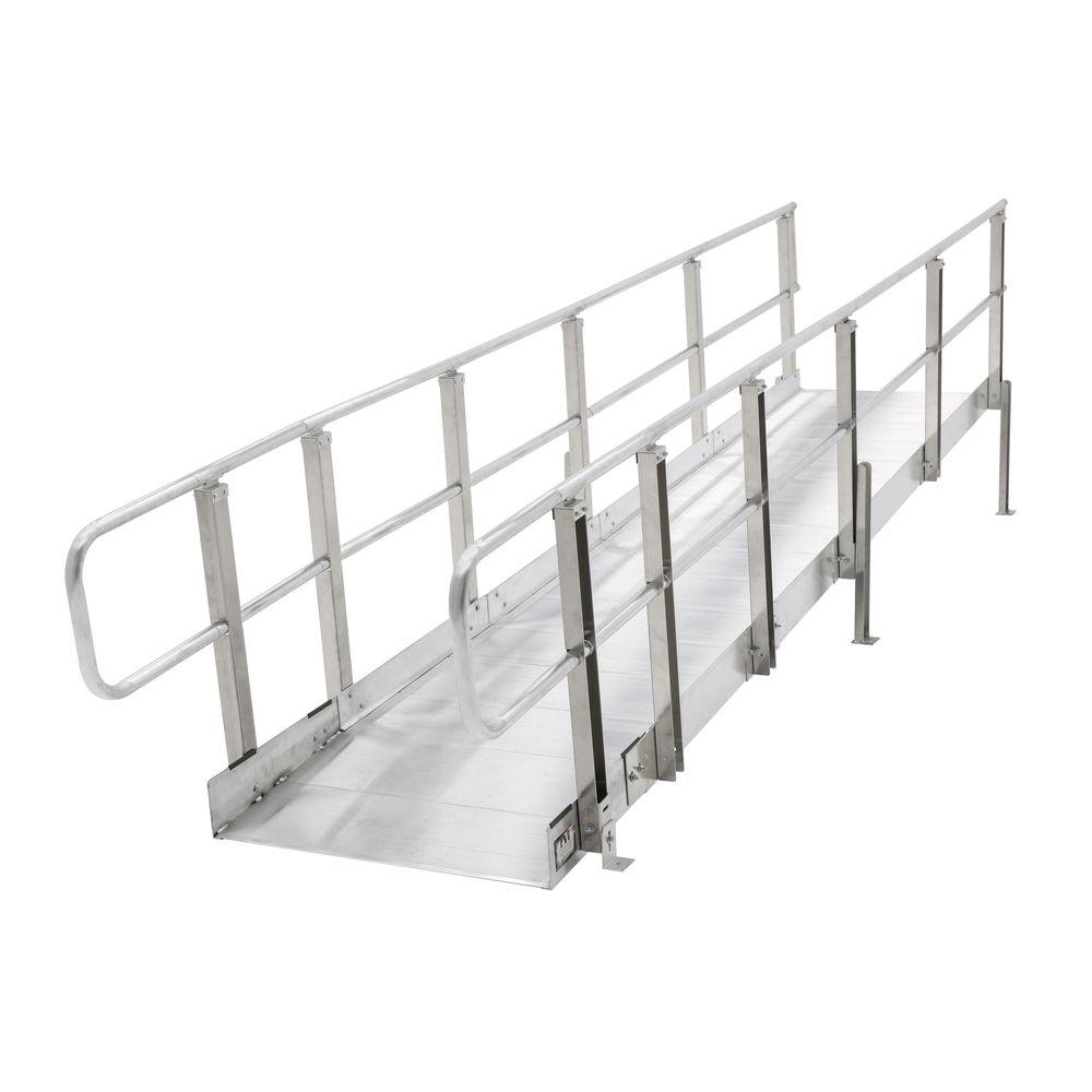 Mod-XP-Ramp-4-HR 4 L PVI Modular XP Aluminum Wheelchair Ramp Section with Handrails