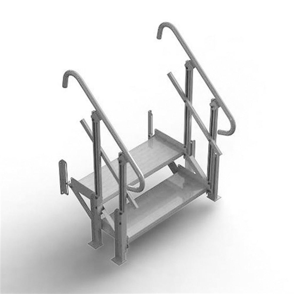 Mod-XP-Stair-2-Step 2 Step PVI Modular XP Aluminum Stair Section with Handrails