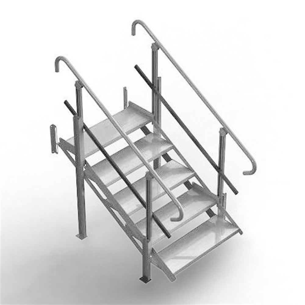 Mod-XP-Stair-5-Step 4 Step PVI Modular XP Aluminum Stair Section with Handrails