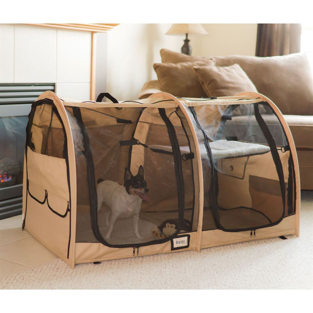 Two compartment portable dog kennel and pet home for Portable travel dog crate