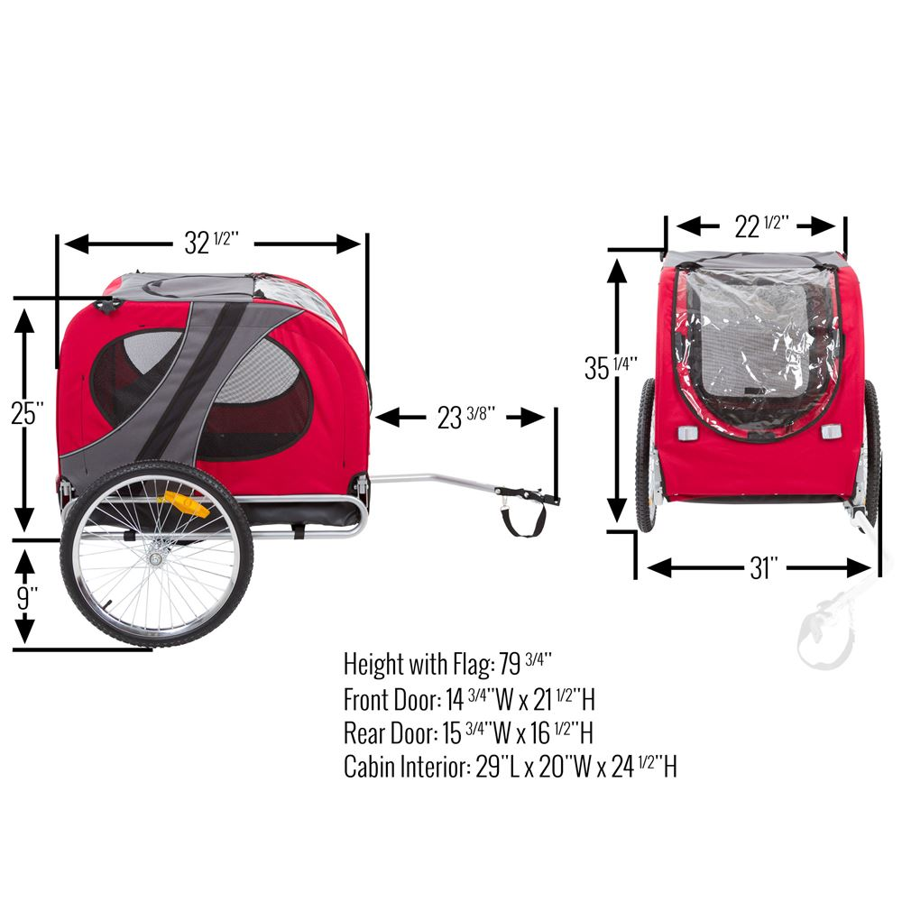 PT-10117-R Lucky Dog Pet Bike Trailer 6