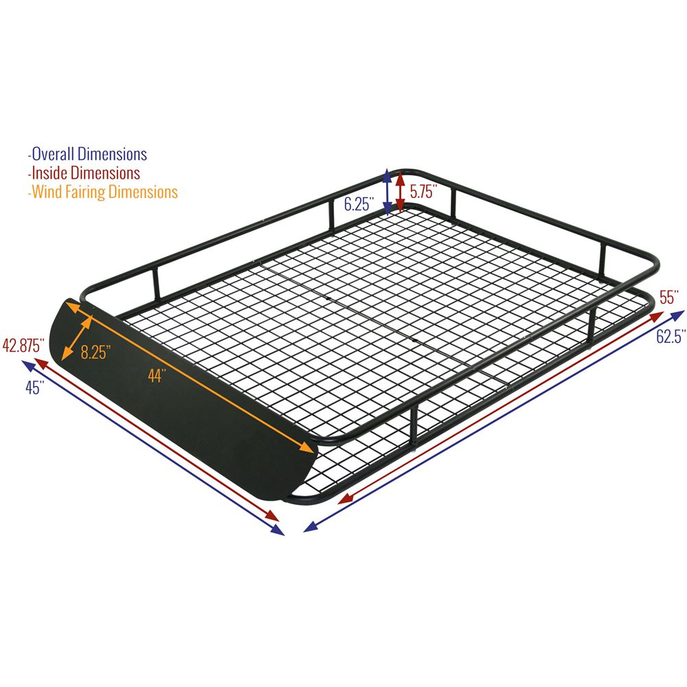 Apex Extra Large Steel Roof Cargo Basket With Wind Fairing 62 1 2