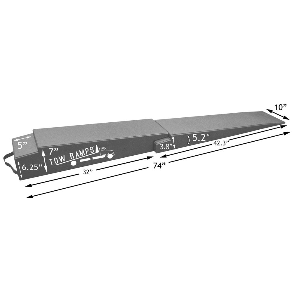 RR-TT-7-10-2 Race Ramps Solid 2-Piece Car Tow Ramps for Flatbed Tow Trucks - 5000 lb Per Axle Capacity 5
