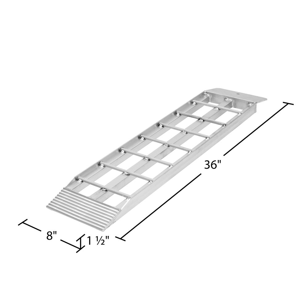 Shed ramp attachment plate end with mounting hole