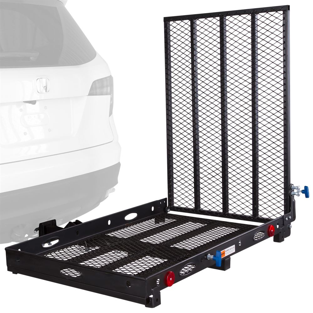 SC400-V2 Silver Spring Steel Folding Scooter and Wheelchair Carrier - 42 L Loading Ramp