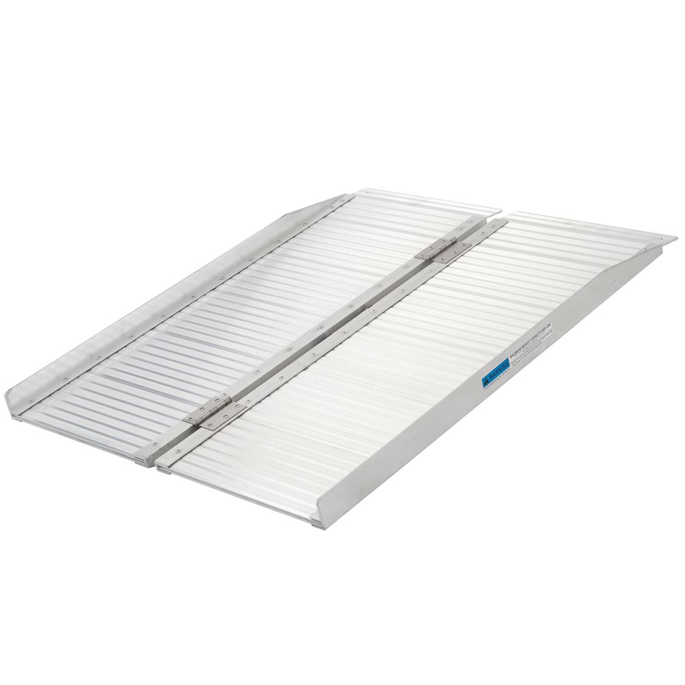 SCG-3 3 L Silver Spring Aluminum Single-Fold Wheelchair Ramp - 600 lb Capacity