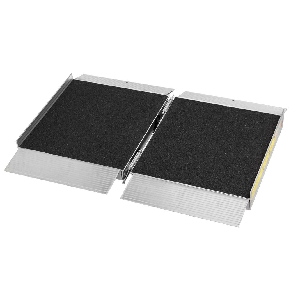 SFP02-AS 2 L x 30 W Silver Spring Aluminum Single-Fold Grit Coated Wheelchair Ramp - 700 lb Capacity