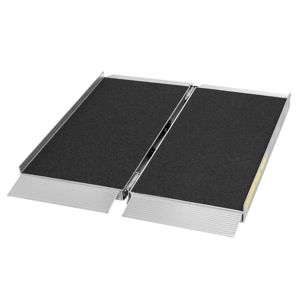 SFP03-AS 3 L x 30 W Silver Spring Aluminum Single-Fold Grit Coated Wheelchair Ramp - 700 lb Capacity