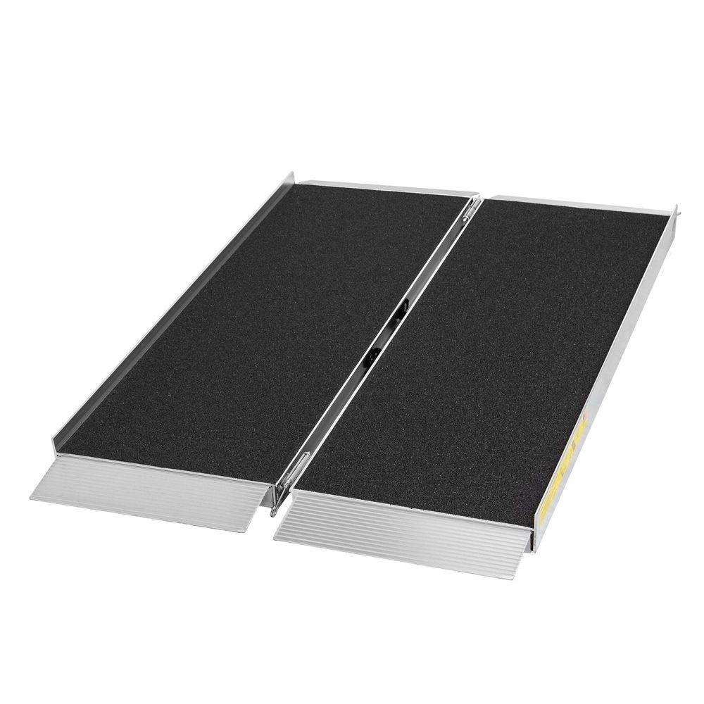 SFP04-AS 4 L x 30 W Silver Spring Aluminum Single-Fold Grit Coated Wheelchair Ramp - 700 lb Capacity