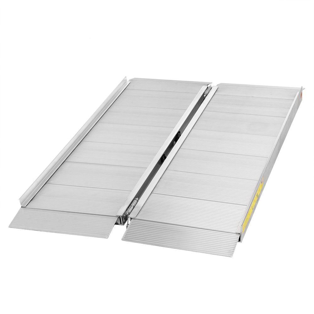SFP04 4 L x 30 W Silver Spring Aluminum Single-Fold Wheelchair Ramp - 700 lb Capacity