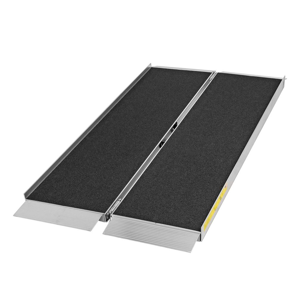 SFP05-AS 5 L x 30 W Silver Spring Aluminum Single-Fold Grit Coated Wheelchair Ramp - 700 lb Capacity