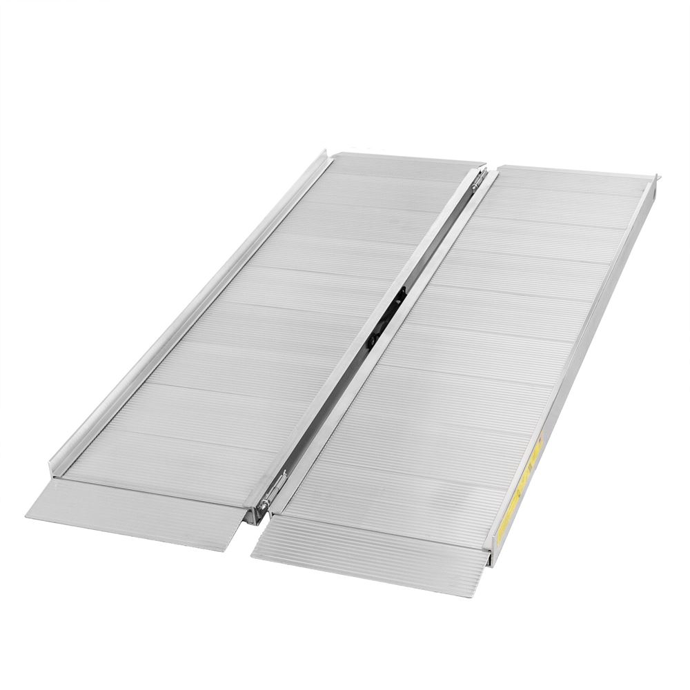 SFP05 5 L x 30 W Silver Spring Aluminum Single-Fold Wheelchair Ramp - 700 lb Capacity