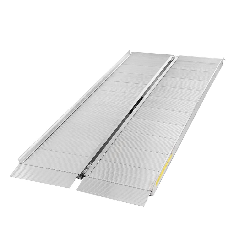 SFP06 6 L x 30 W Silver Spring Aluminum Single-Fold Wheelchair Ramp - 700 lb Capacity