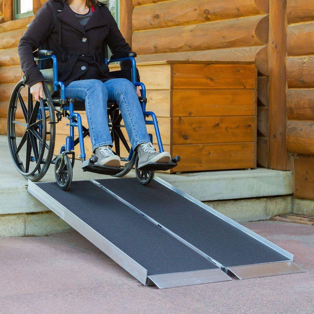 SFPAS Silver Spring Single-Fold Grit Coated Wheelchair Ramp - 700 lb Capacity 1