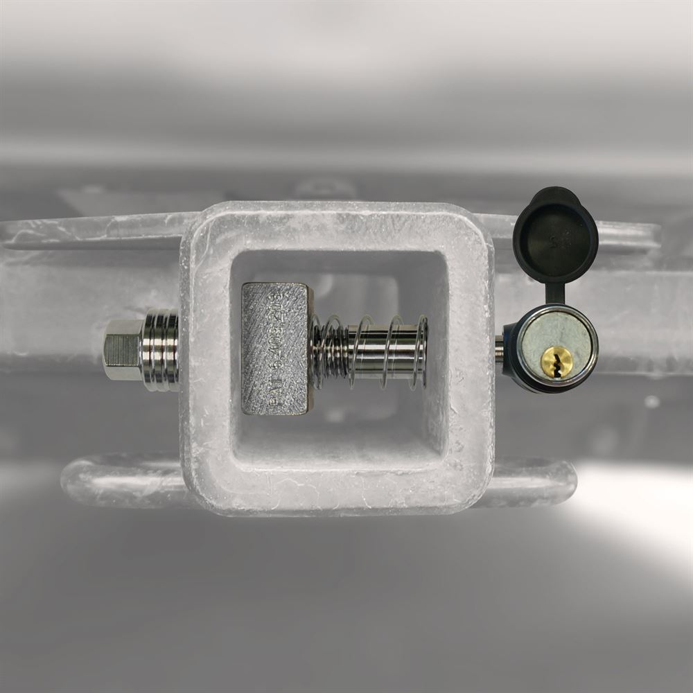 Silent hitch pin shown in a hitch tube
