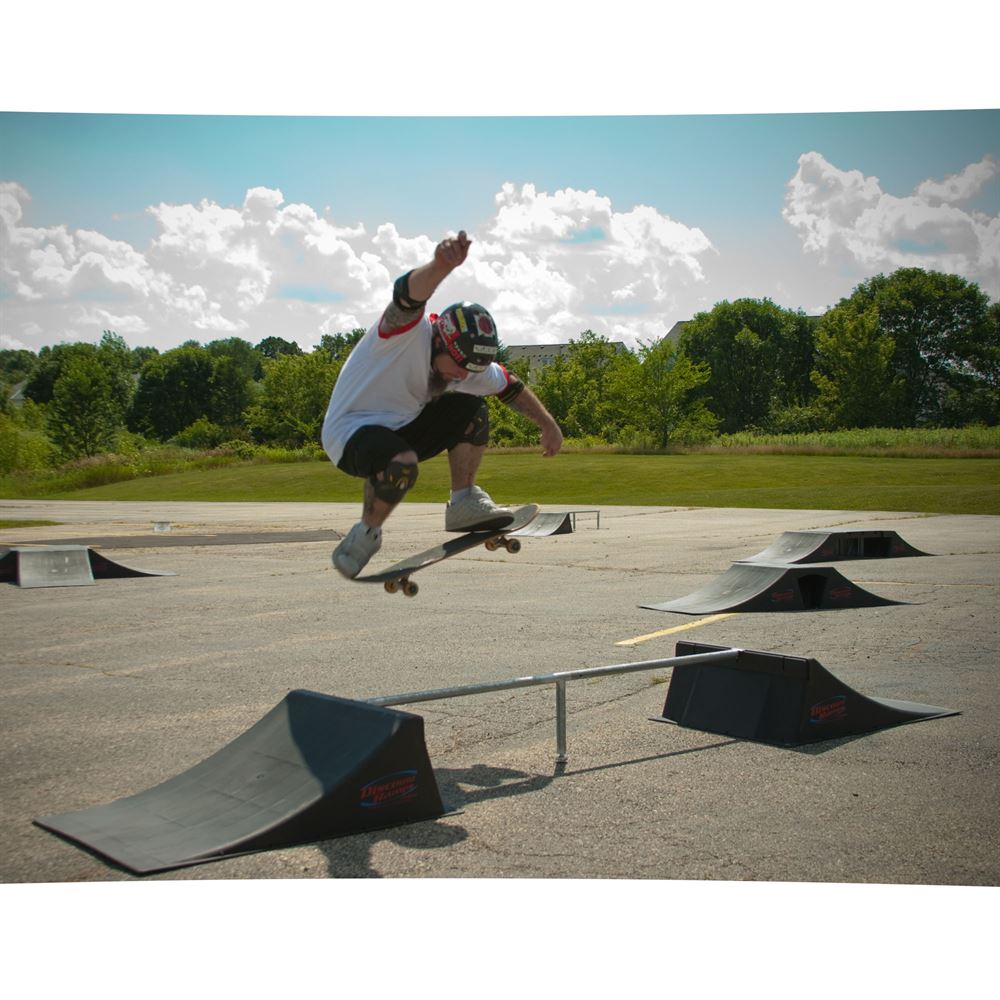 SK-906 12 High Double Skateboard Launch Ramp With Center Grind Rail 1