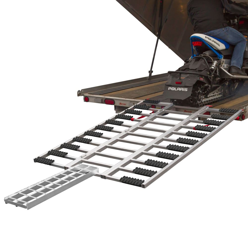 SNO-TF Black Ice Tri-Fold Snowmobile and ATV Trailer Ramp - 6 5 Long x 54 Wide