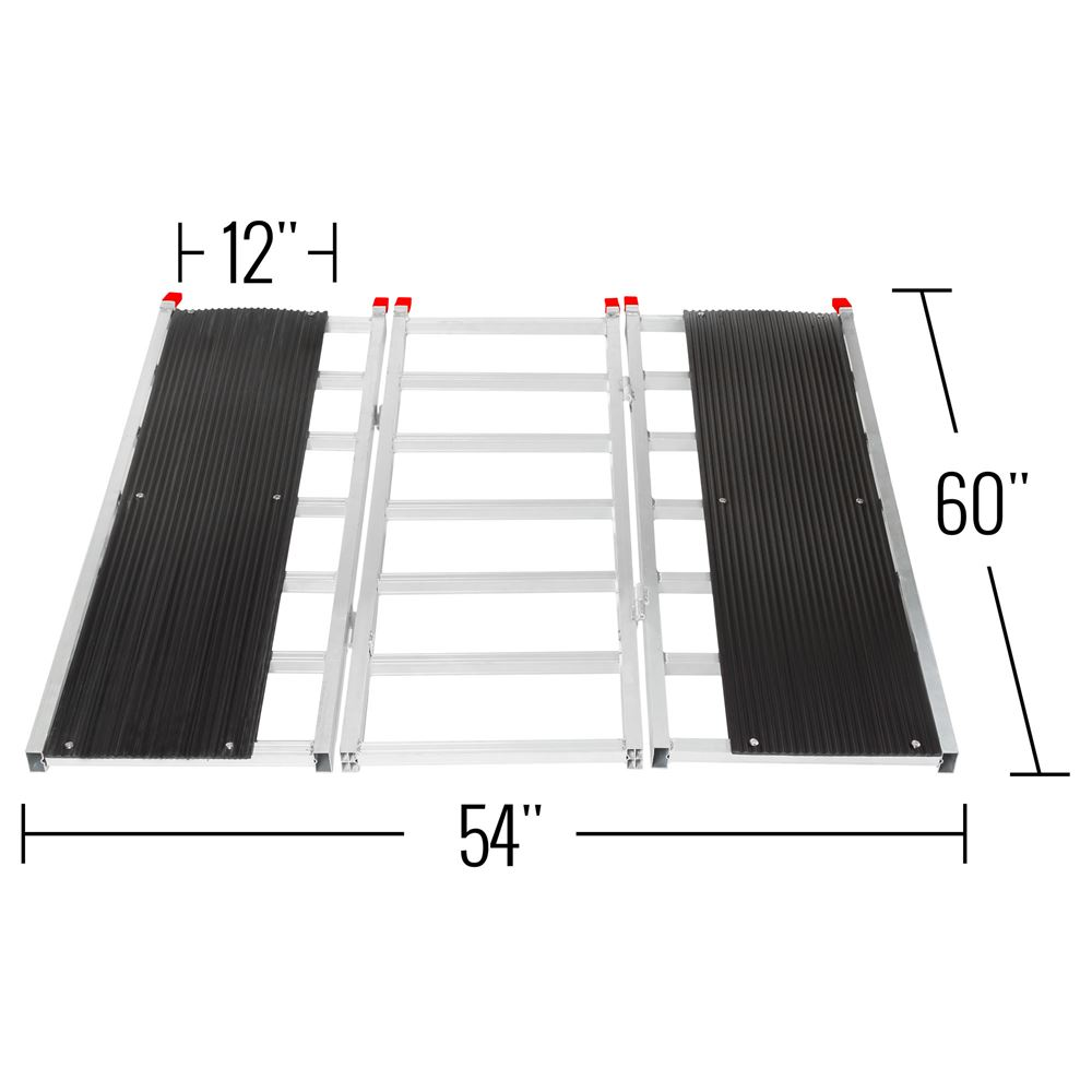 SNO-TRI-FOLD-T Black Ice Tri-Fold Snowmobile Trailer Ramps - 1500 lb Capacity 60 Long 5