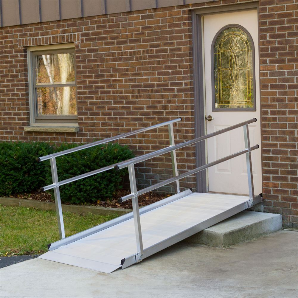 SSGHR-08 8 L -Silver Spring Aluminum Wheelchair Access Ramps with Handrails
