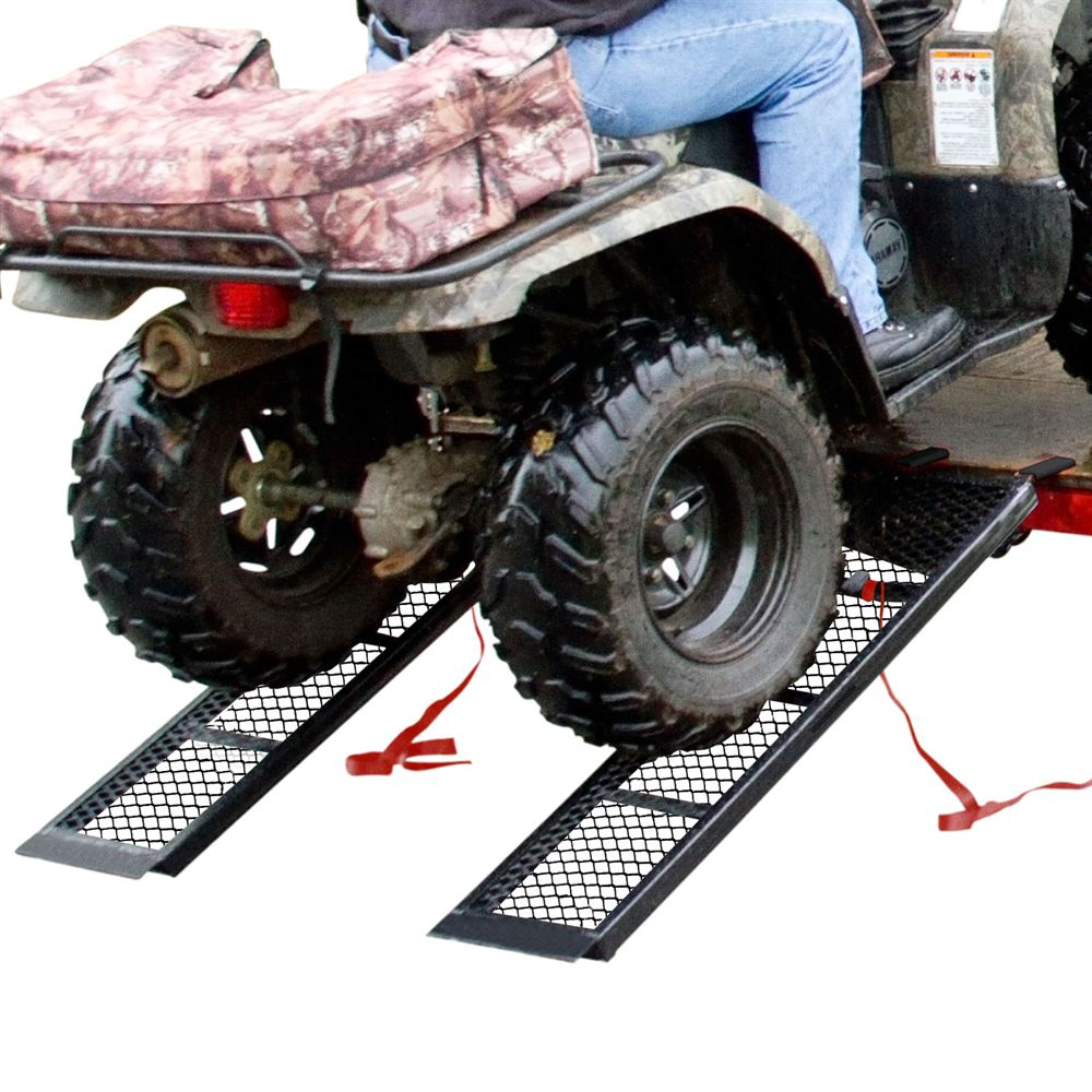 ST-4811-1600-MV2 Black Widow Steel Mesh Dual Runner ATV Trailer Ramps - 4-12 Long