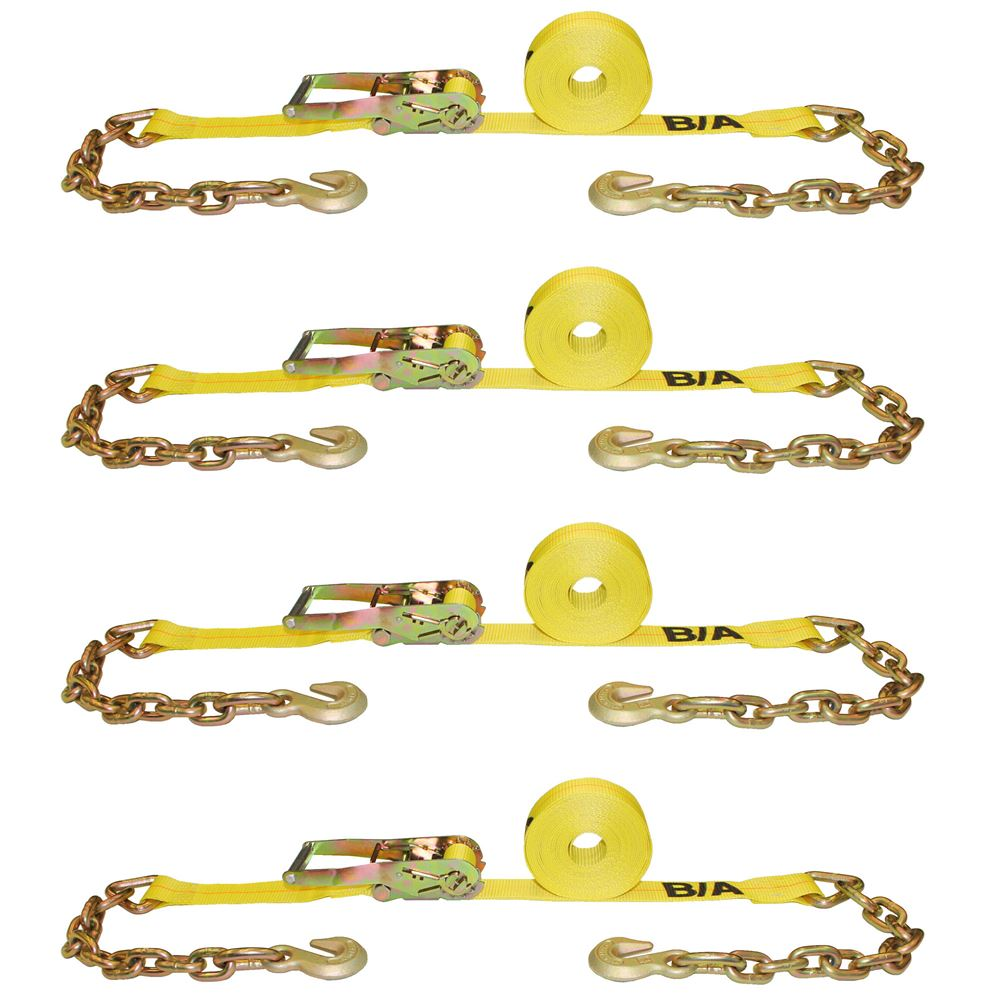 TD2-27CG-4 4-Pack of BA Products 2 x 27 Ratchet Tie-Down Strap with Chains and Grab Hooks