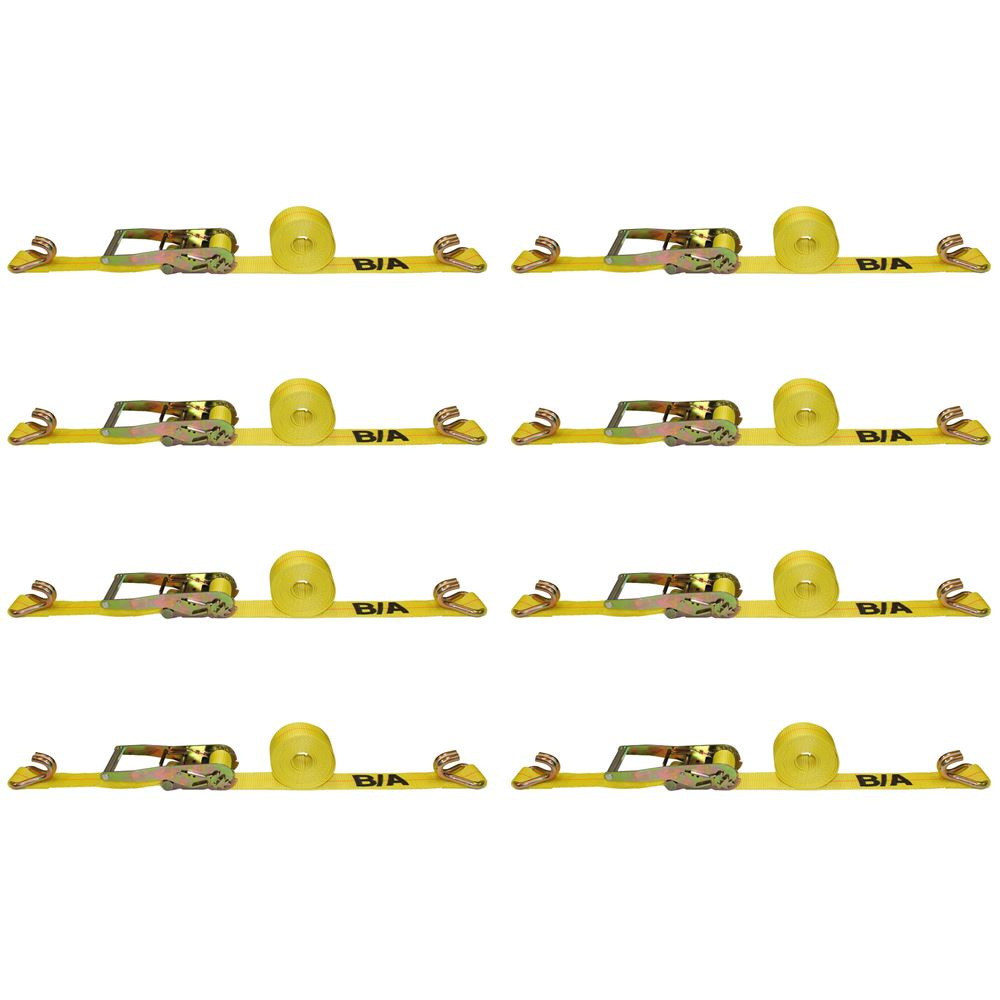TD2-27DJ-8 8-Pack of BA Products 2 x 27 Ratchet Tie Down Strap with Double J Hooks