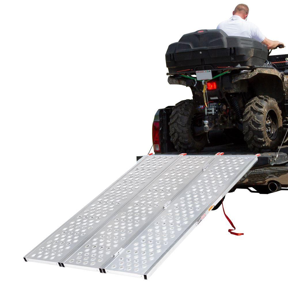 TFP-7754 6 5-14 L x 54-38 W Black Widow Aluminum Punch Plate Tri-Fold ATV Ramp