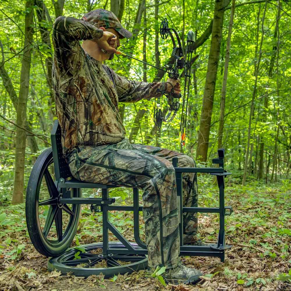Hunter sitting on Throne Hunting Chair