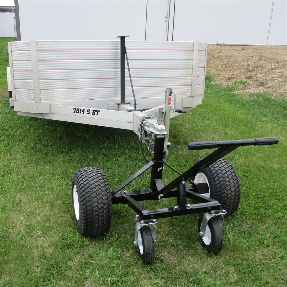 Tow Tuff Heavy-Duty Trailer Dolly hooked up to a utility trailer