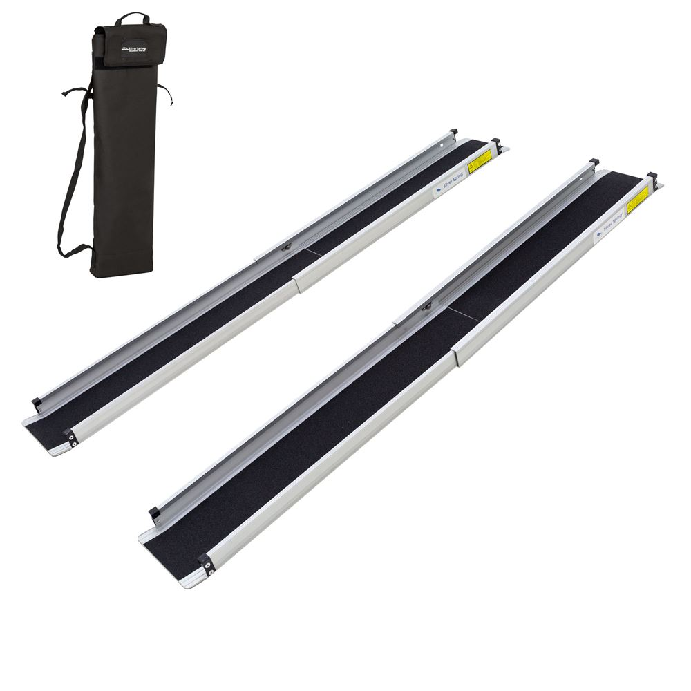 TWR-V2-3-5-Kit 3 - 5 L Silver Spring Aluminum Telescoping Wheelchair Track Ramps with Bag