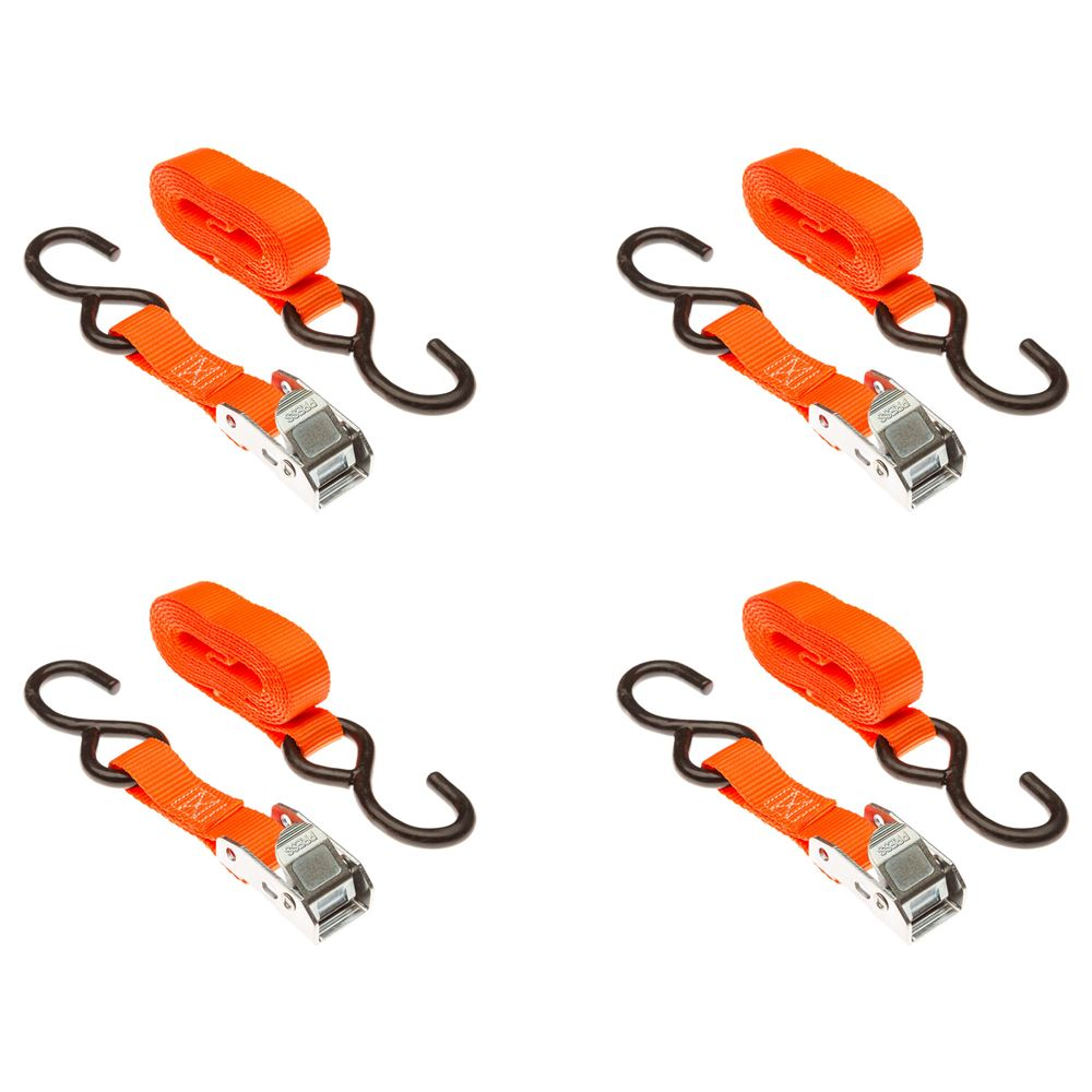 VH-Strap-C-O 4-Pack of 1 x 6 Cam Buckle Straps with S-Hooks
