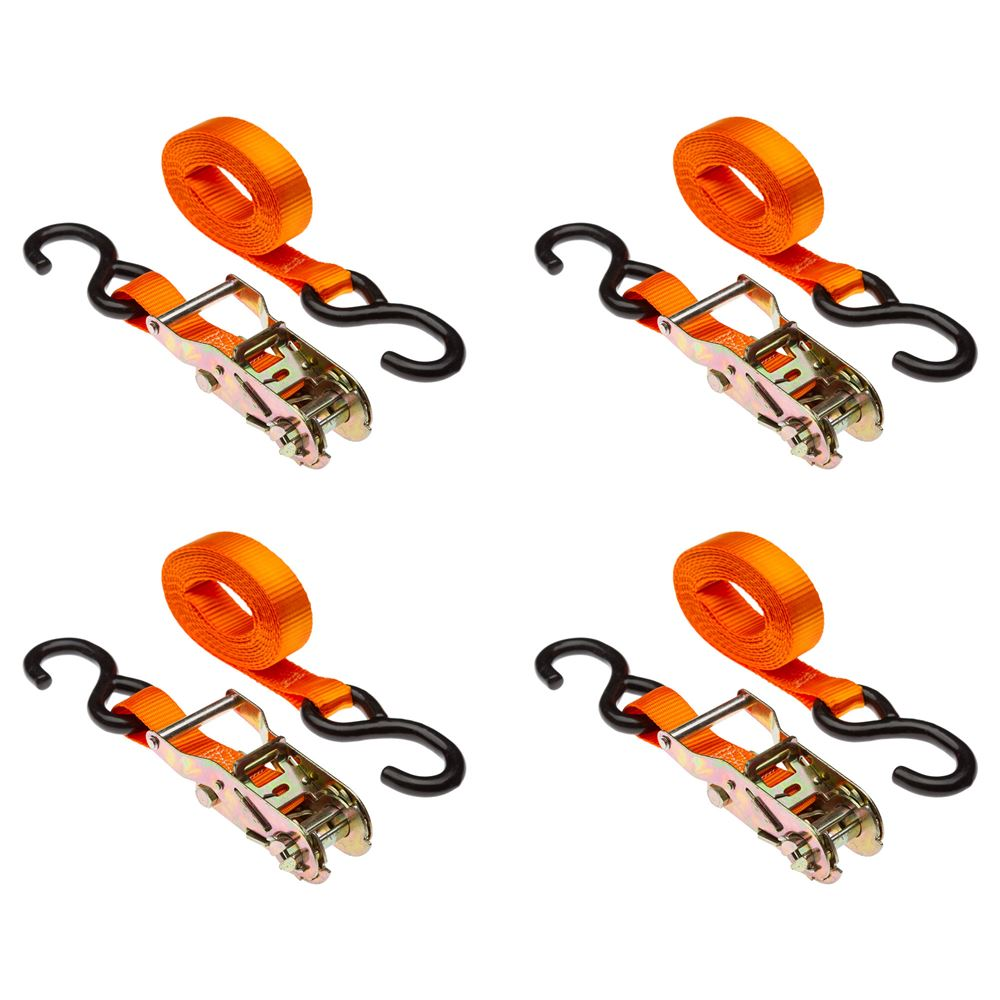 VH-Strap-R-10-O 4-Pack of 1 x 10 Ratchet Straps with S-Hooks