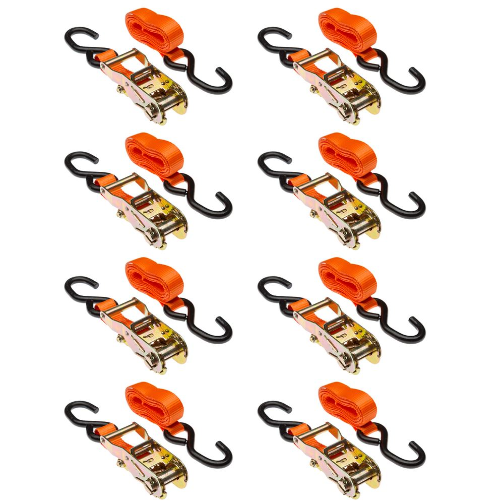 VH-Strap-R-O-8 8-Pack of 1 x 6 Ratchet Straps with S-Hooks