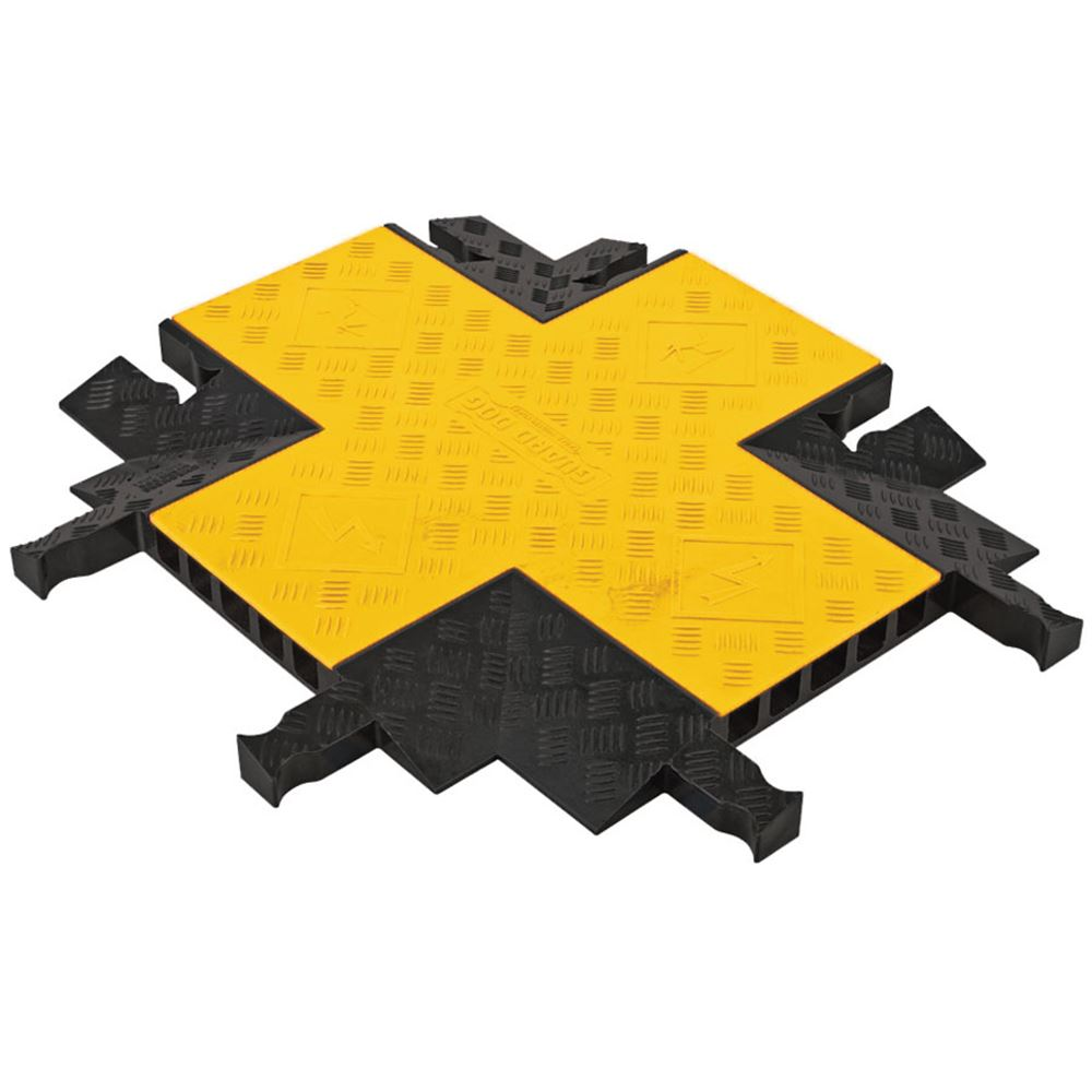 YJ5X-125-YB 5-Channel 4-Way Cross Yellow Jacket Cable Protector for 1 Diameter Cables
