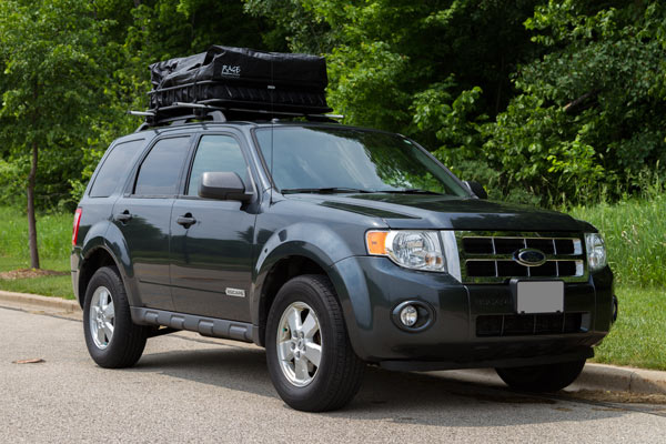 Waterproof roof top cargo bag on a truck