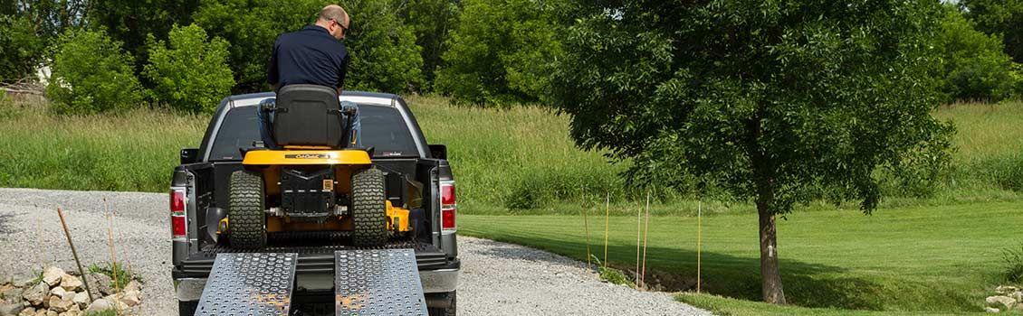 Garden tractor in a truck