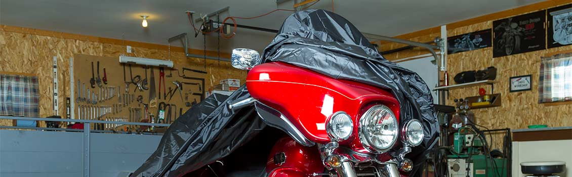 Covered trike in garage