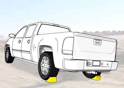 Wheel chocks on each rear tire of a pickup truck
