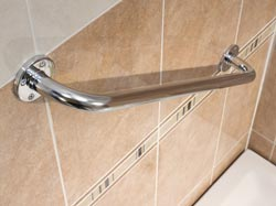 Grab bar in bathroom